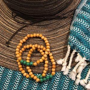 Jewelry - Wood & Turquoise Bead Stretch Bracelet Set